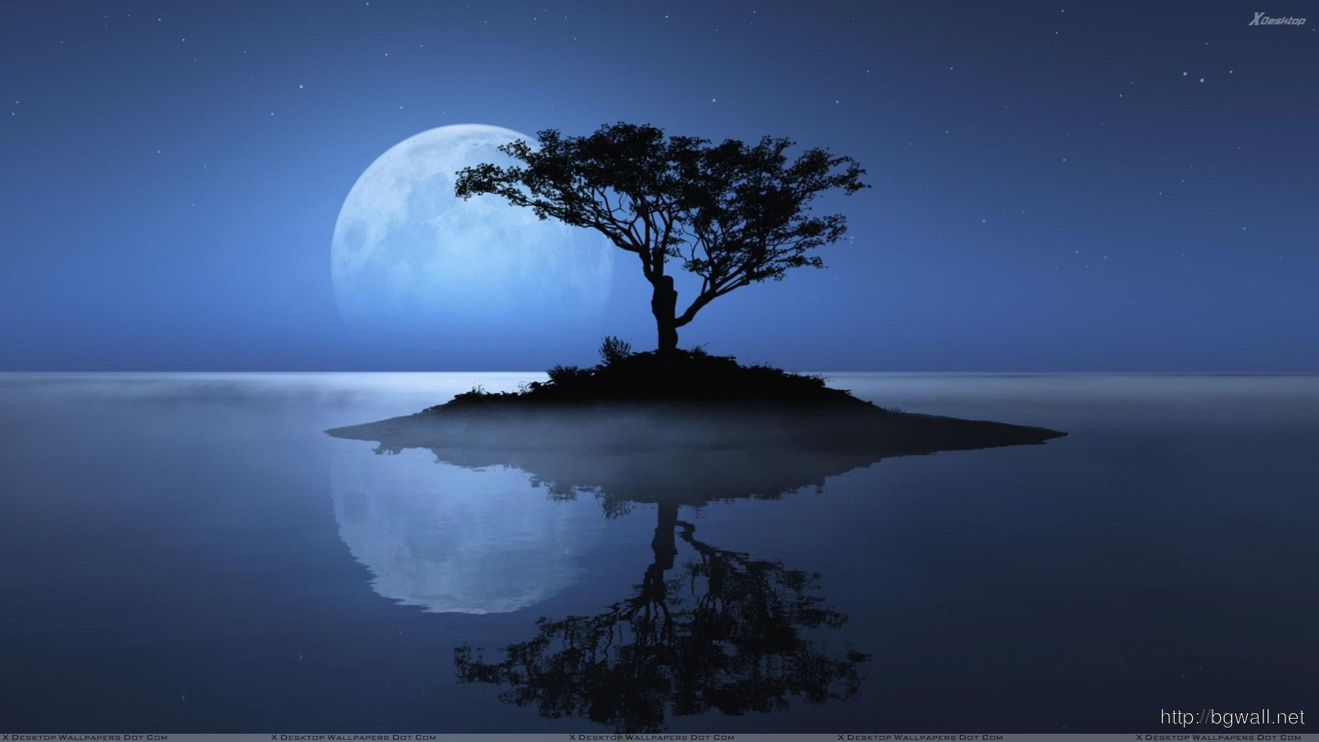 Blue Moon Over The Water Evening Scene Wallpaper