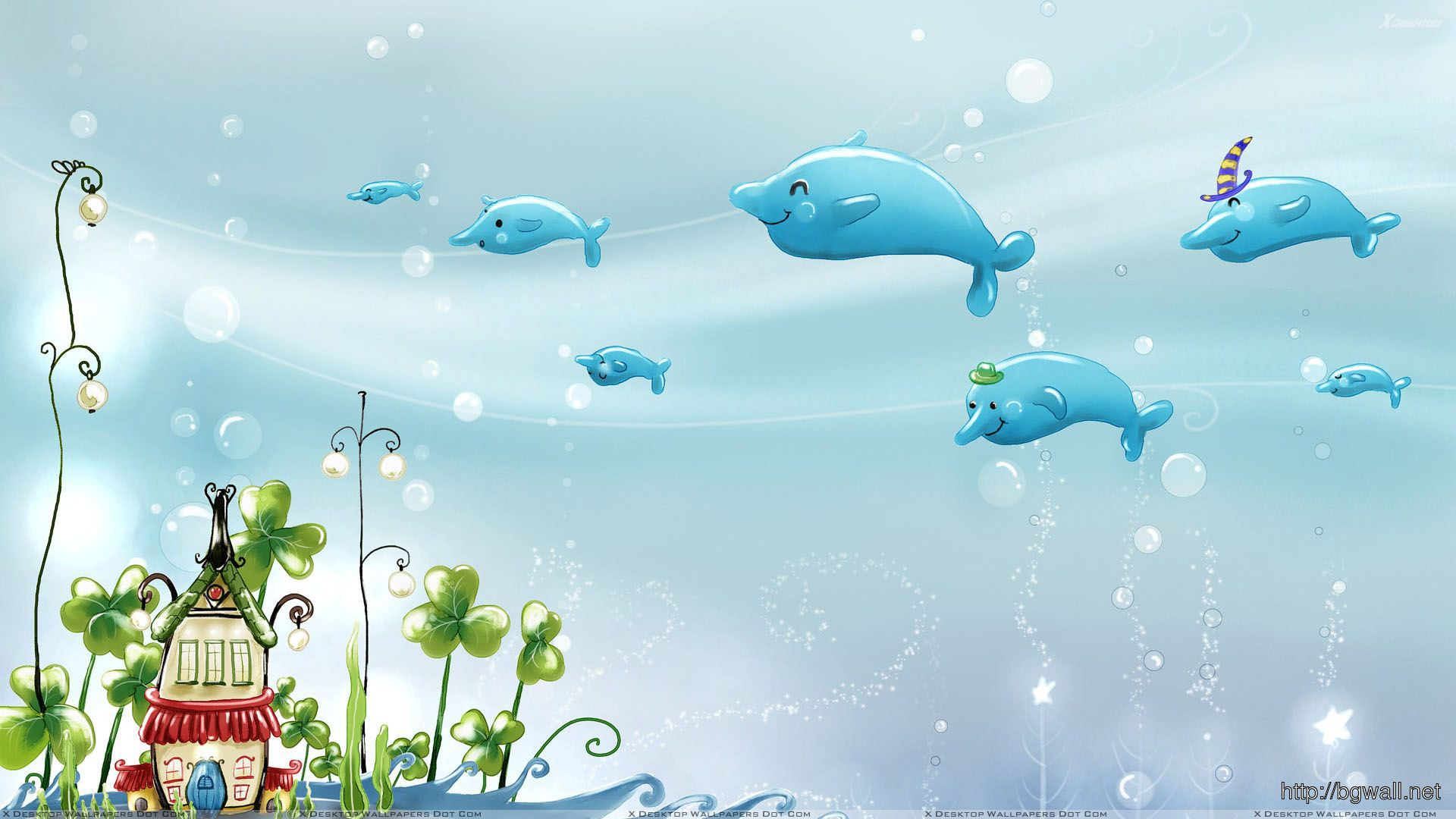 Dolphin And Underwater House Wallpaper Full Size