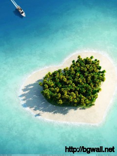 Heart Shape Island Wallpaper Full Size