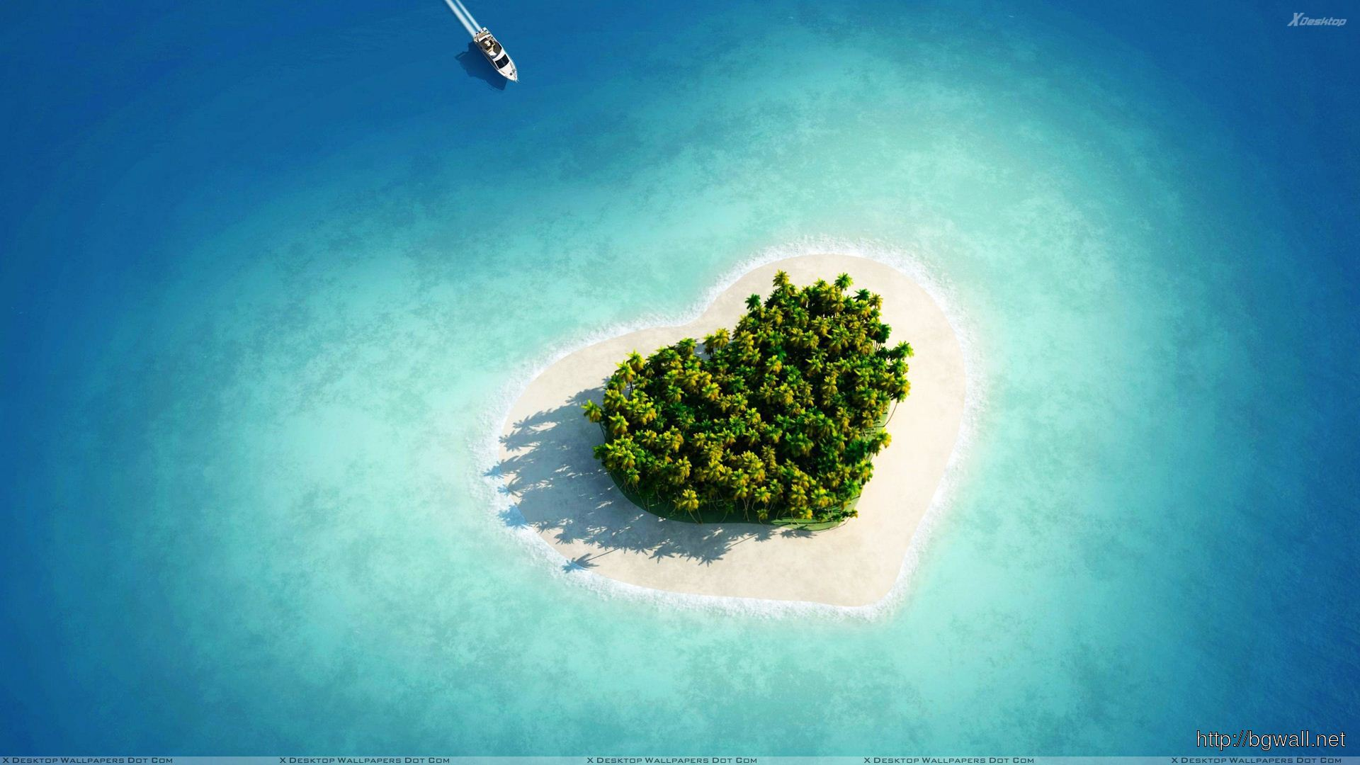 Heart Shape Island Wallpaper Full Size