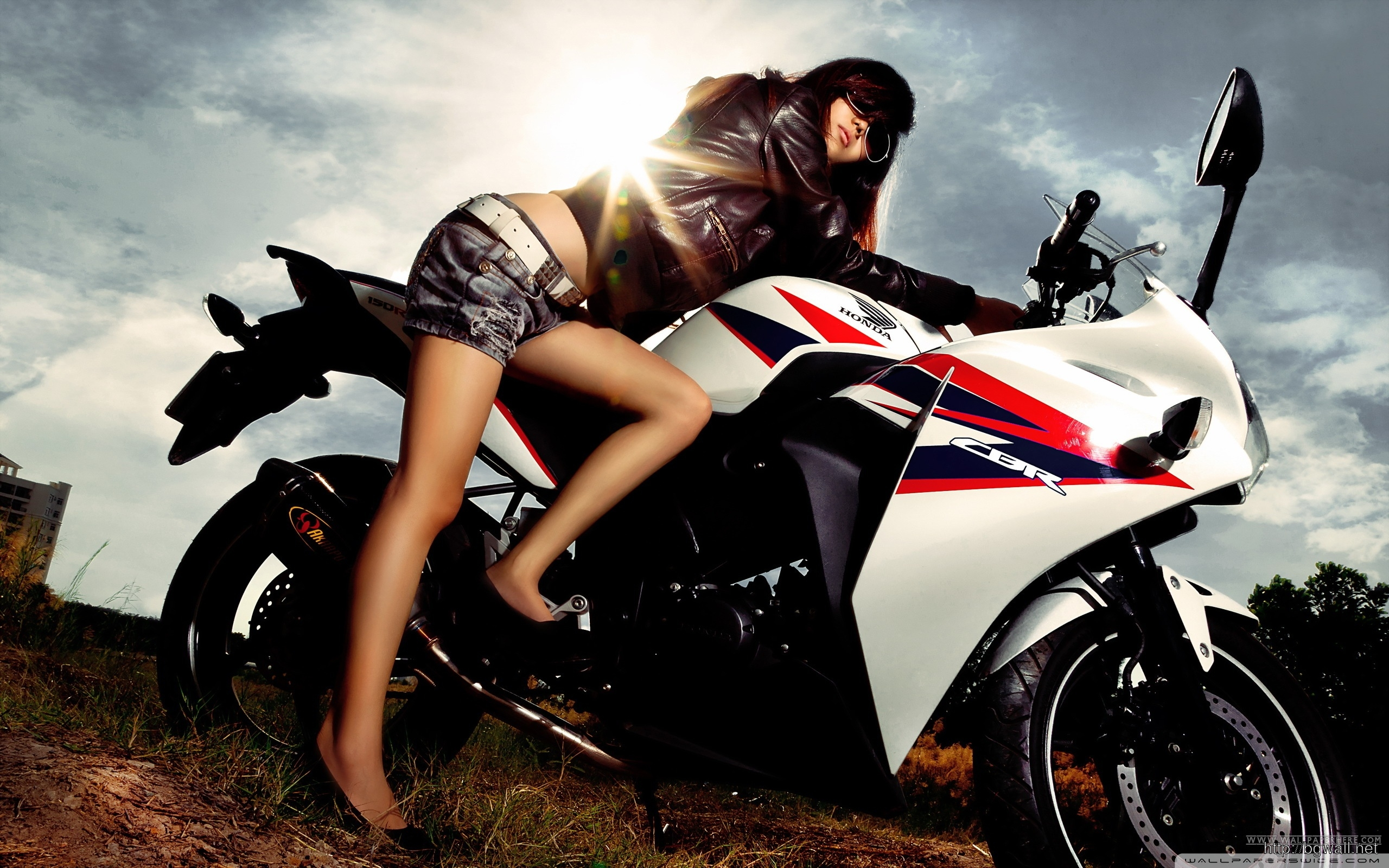 View Of Motorcycle Girl Wallpaper Wallpapers Full Size