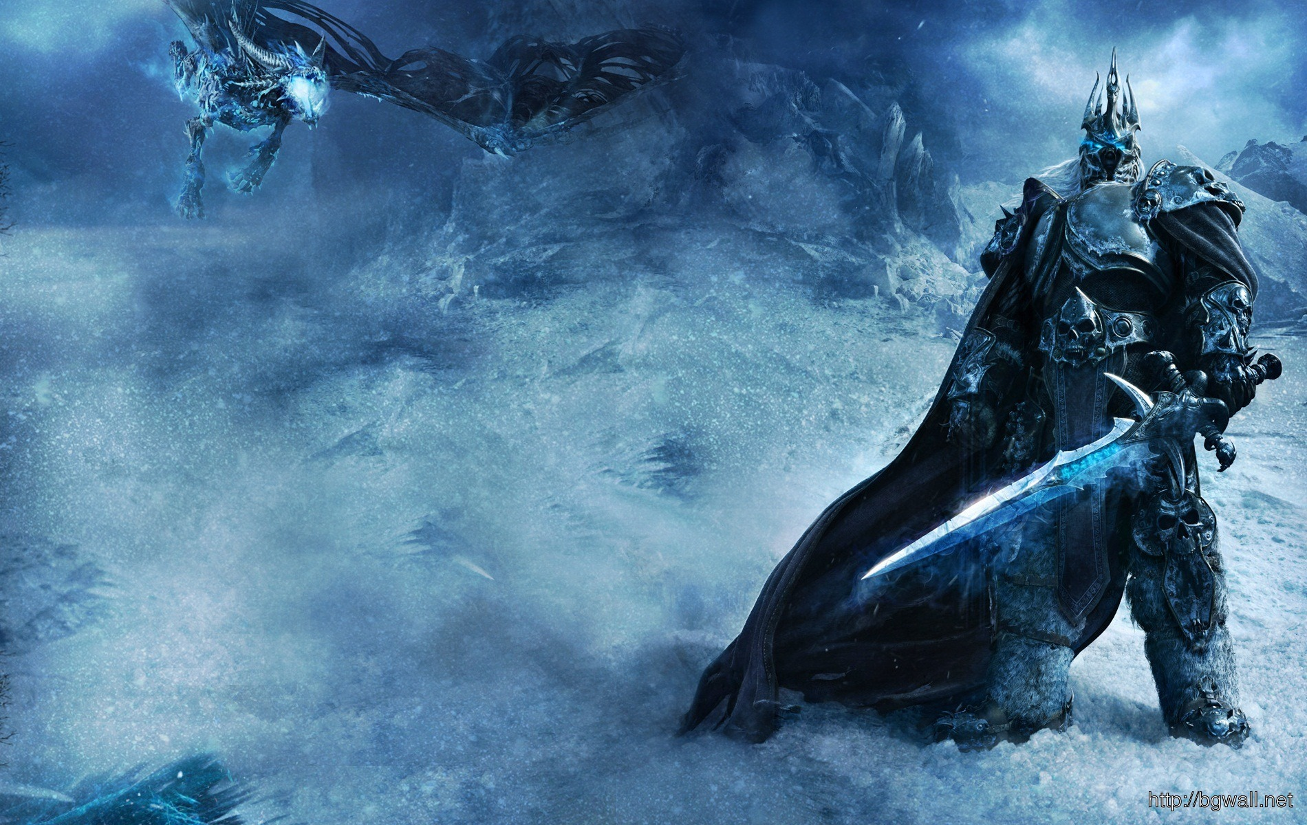 World Of Warcraft Snow Storm Lich King Game Wallpaper 1900x1200 Pixel Full Size