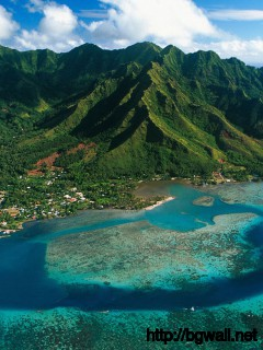 Aerial View Of Moorea Island French Polynesia Full Size