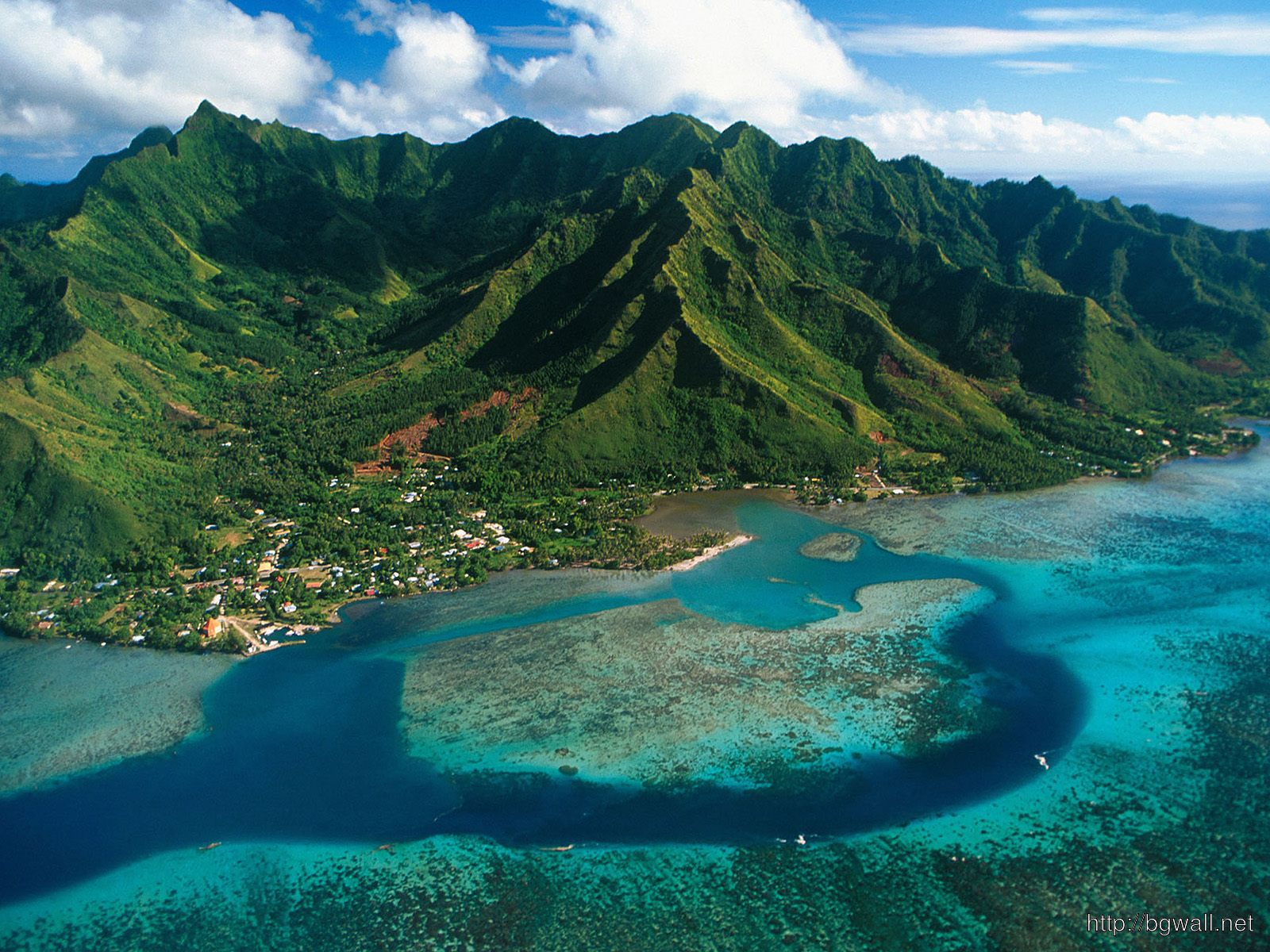 Aerial View Of Moorea Island French Polynesia – Background ...