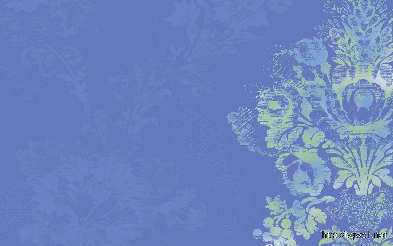 Calming Wallpaper In Serene Blue With Stylized Floral Design