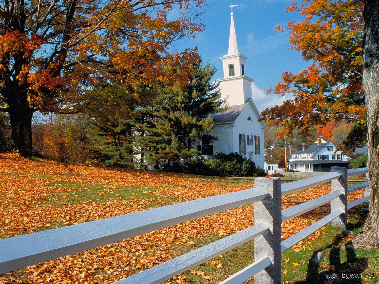 Church In Fall Splendor New England Full Size