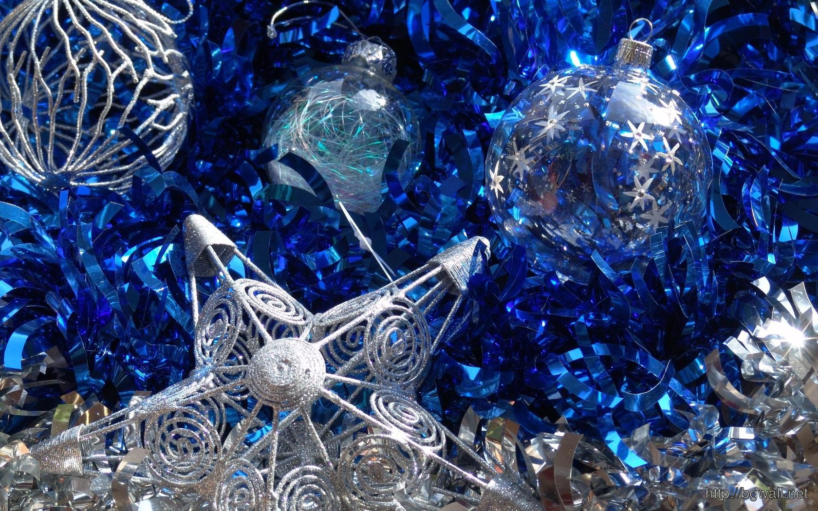Download Blue And Silver Christmas Ornaments Wallpaper Full Size