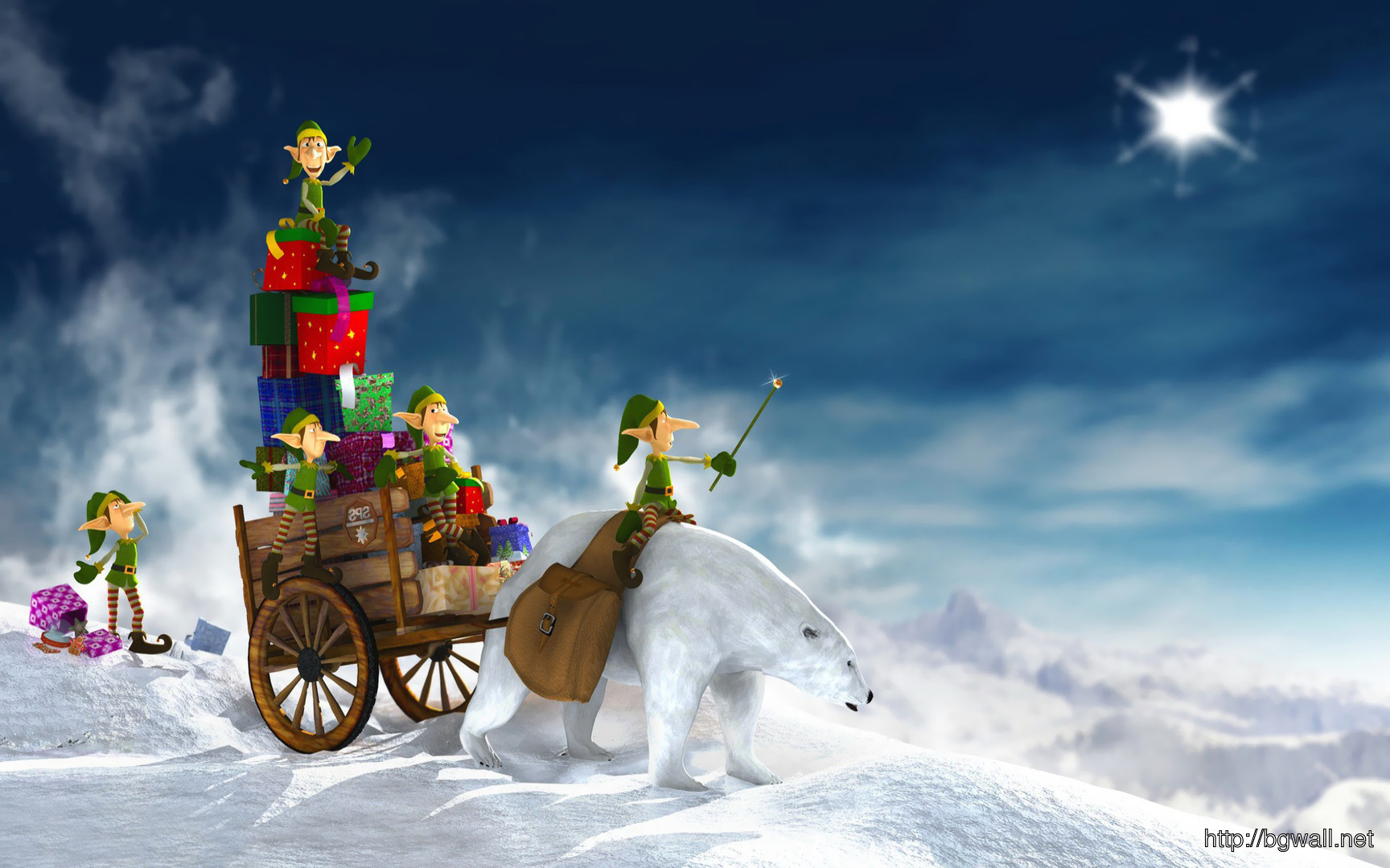 Download Elves With Santas Sleigh Wallpaper Background