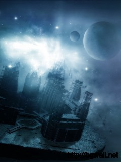 Download Floating City In Space Wallpaper Full Size