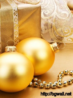 Download Golden Christmas Ornaments Wallpaper Full Size