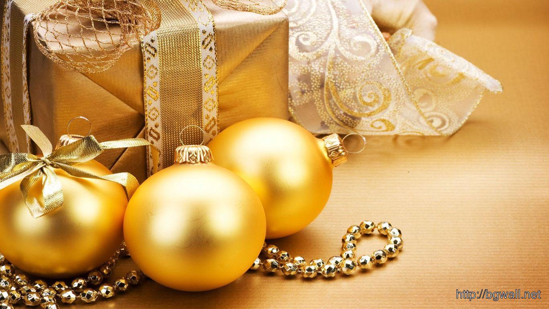 Download Golden Christmas Ornaments Wallpaper Full Size