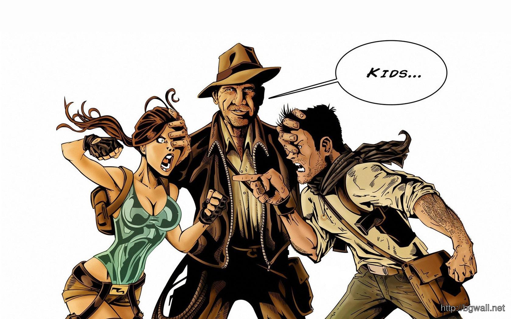 Download Indiana Jones Lara Croft And Nathan Drake Wallpaper Full Size