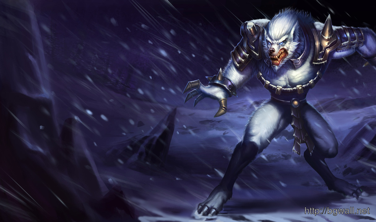 Download League Of Legends Tundra Hunter Warwick Wolfman Wallpaper Background Wallpaper Hd