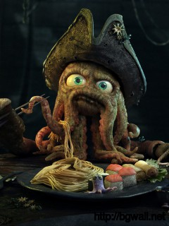 Download Octopus Pirate At Dinner Wallpaper Full Size