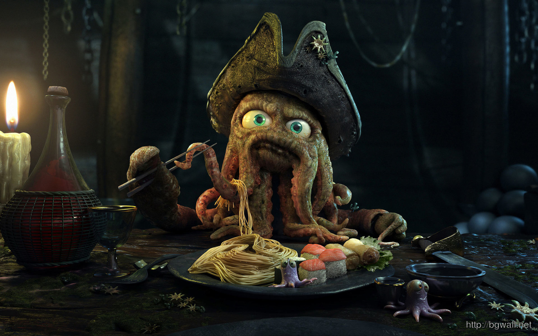 Download Octopus Pirate At Dinner Wallpaper