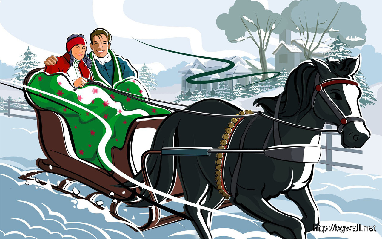 Download Sleigh Ride At Christmas Wallpaper