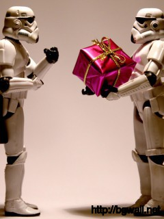 Download Stormtroopers With A Christmas Present Wallpaper Full Size