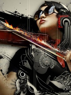 Download Woman With Violin Wallpaper Full Size
