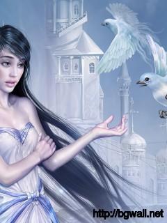 Elf Girl With Doves Wallpaper 7553 Full Size