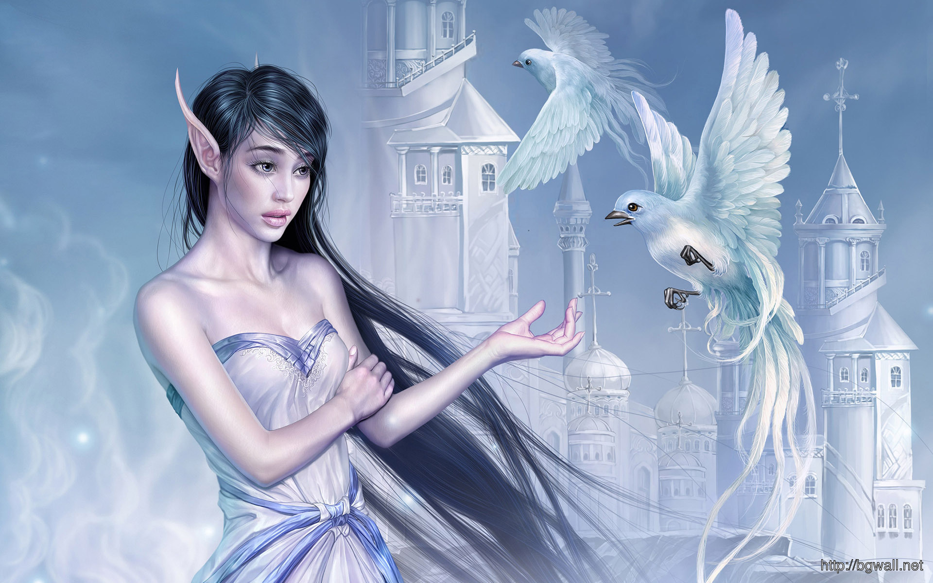 Elf Girl With Doves Wallpaper 7553 Full Size