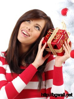 Girl With A Christmas Present Wallpaper 2369 Full Size