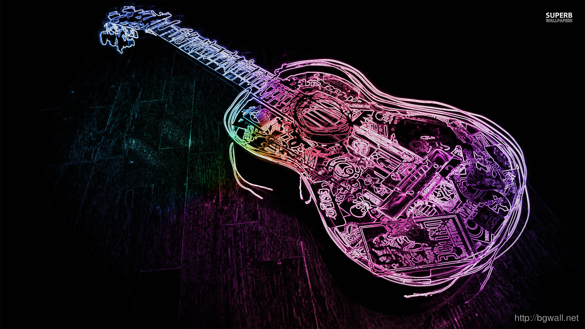 Glowing Neon Guitar Outline Wallpaper Full Size