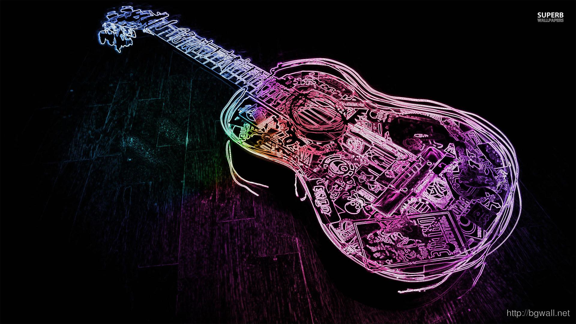 Glowing Neon Guitar Outline Wallpaper