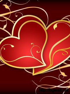 Hearts On Golden Swirls Wallpaper Full Size