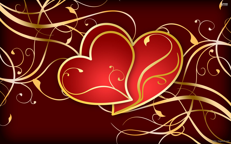 Hearts On Golden Swirls Wallpaper Full Size