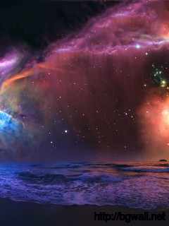 Nebula Over The Beach Wallpaper Full Size