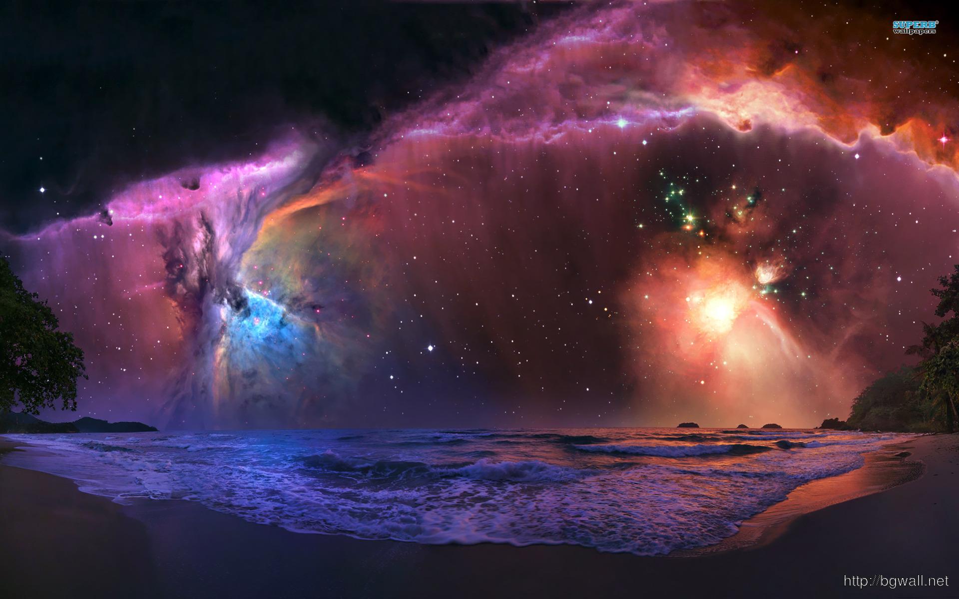 Nebula Over The Beach Wallpaper Full Size