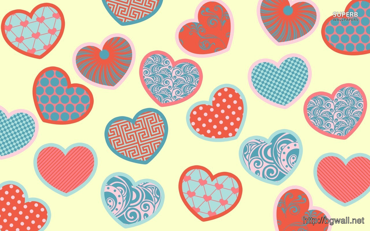 Patterned Hearts Wallpaper Full Size