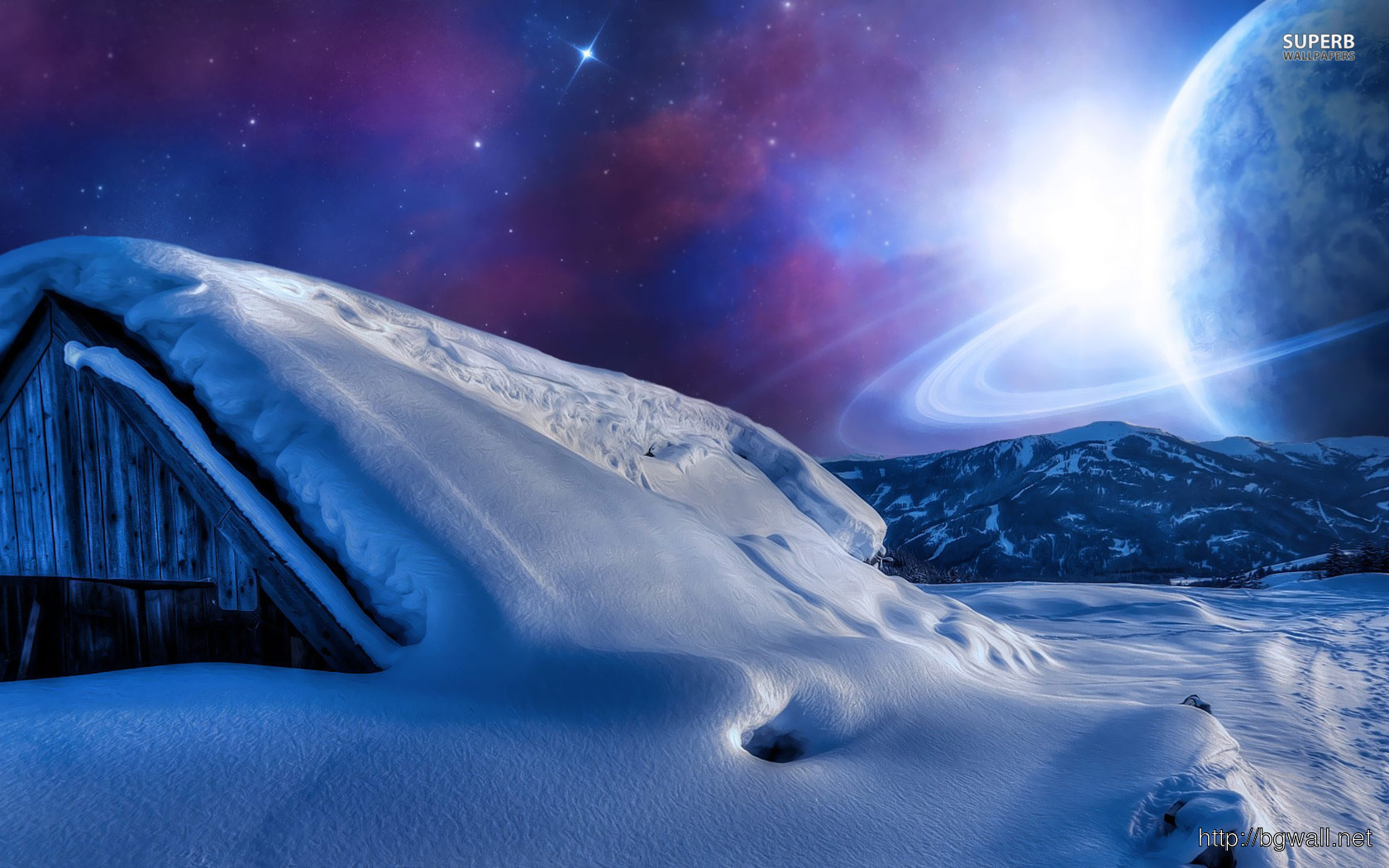Planet In The Sky During A Winter Night Wallpaper Full Size