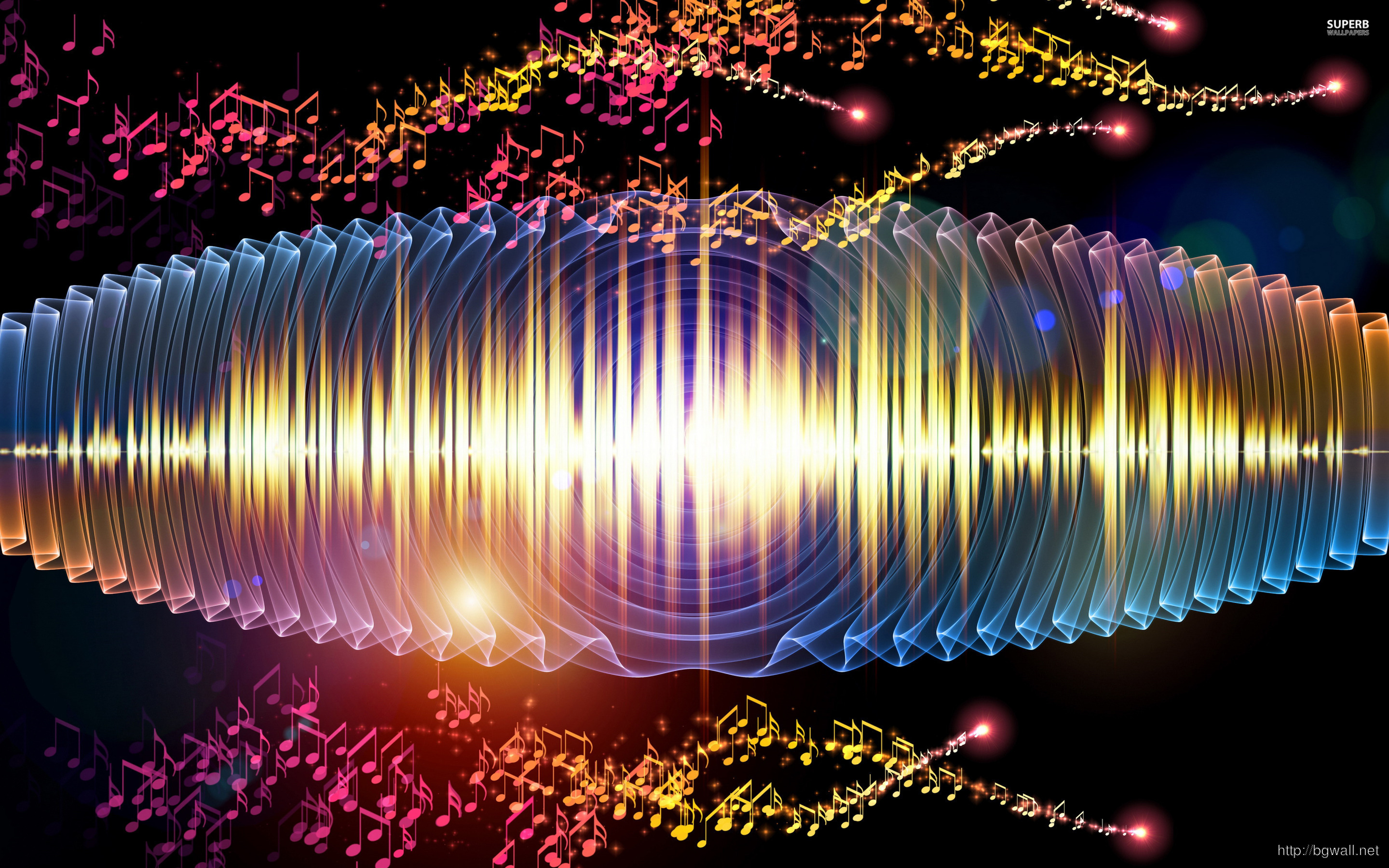 Sound Waves And Notes Wallpaper Full Size