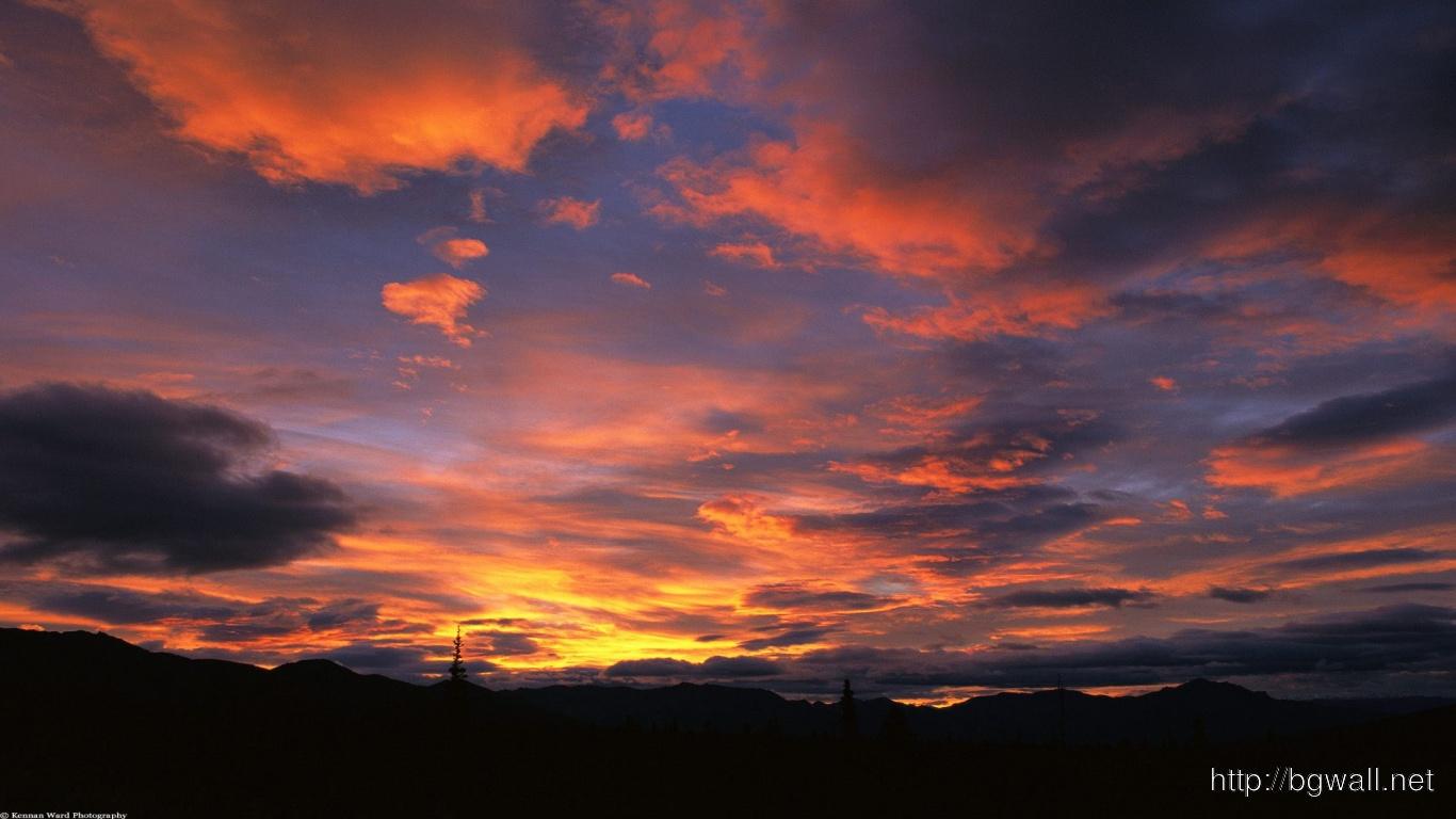 Sunrise Teklanika River Valley Denali Alaska Full Size