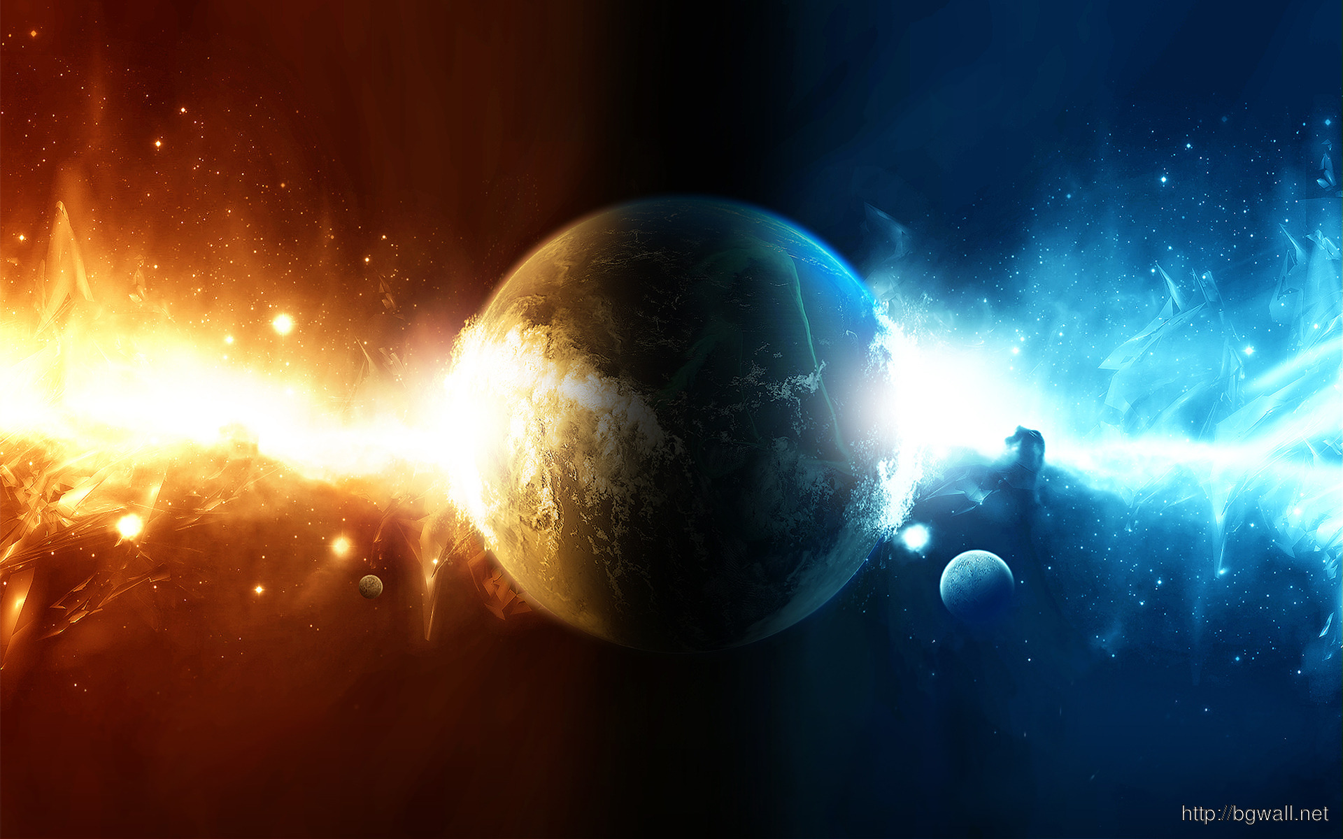 Water And Fire Colliding In The Planet Wallpaper 5173 Full Size