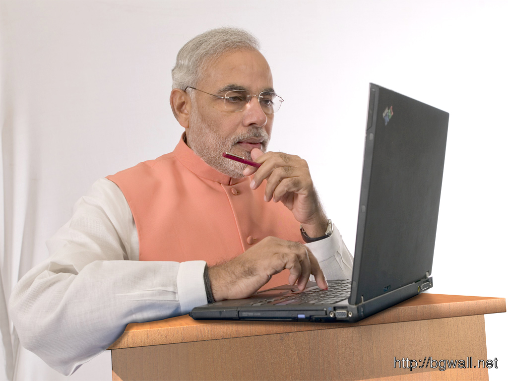 narendra modi using laptop wallpaper