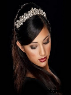 Black-Wedding-Hairstyle-Ideas-with-Tiara