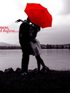 Love-Couple-And-Umbrella-Red-Wallpaper