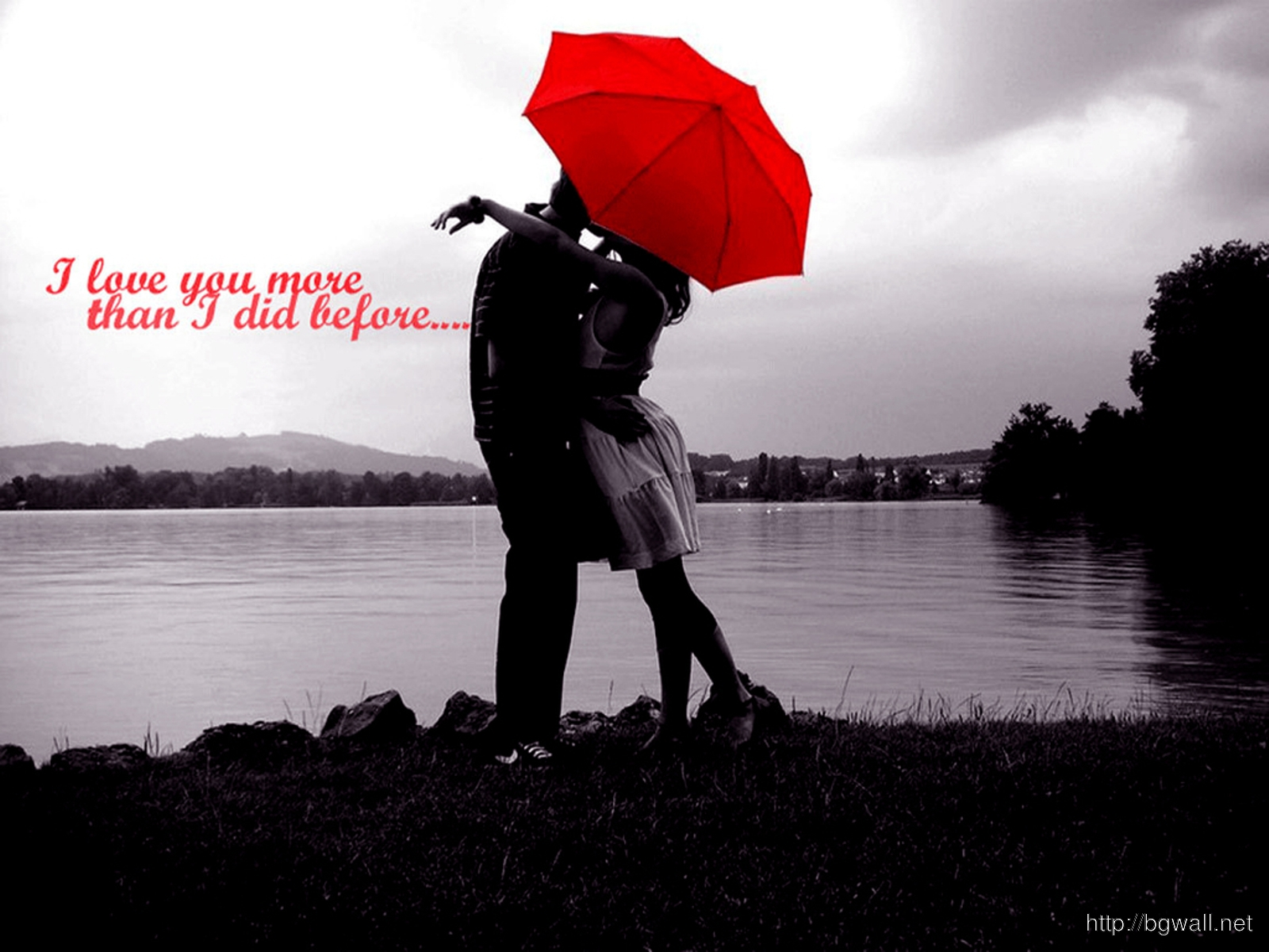 Love Couple And Umbrella Red Wallpaper