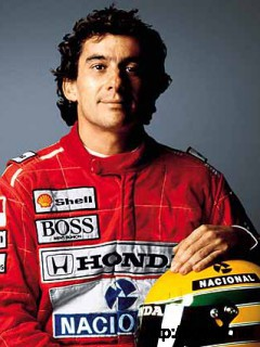 ayrton senna with Helmet Photo