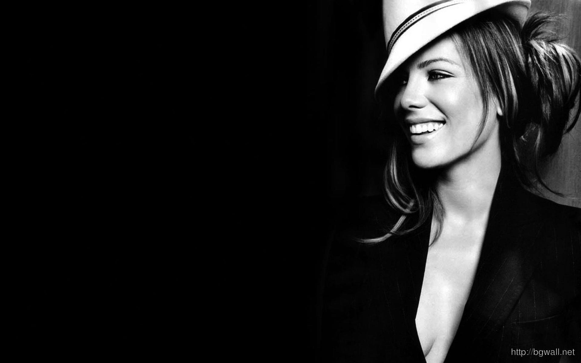 Kate Beckinsale with Hat in Black Background
