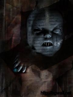 terror images of horrific baby