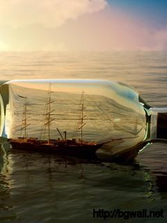 3d-art-bottle-at-sea-wallpaper-download