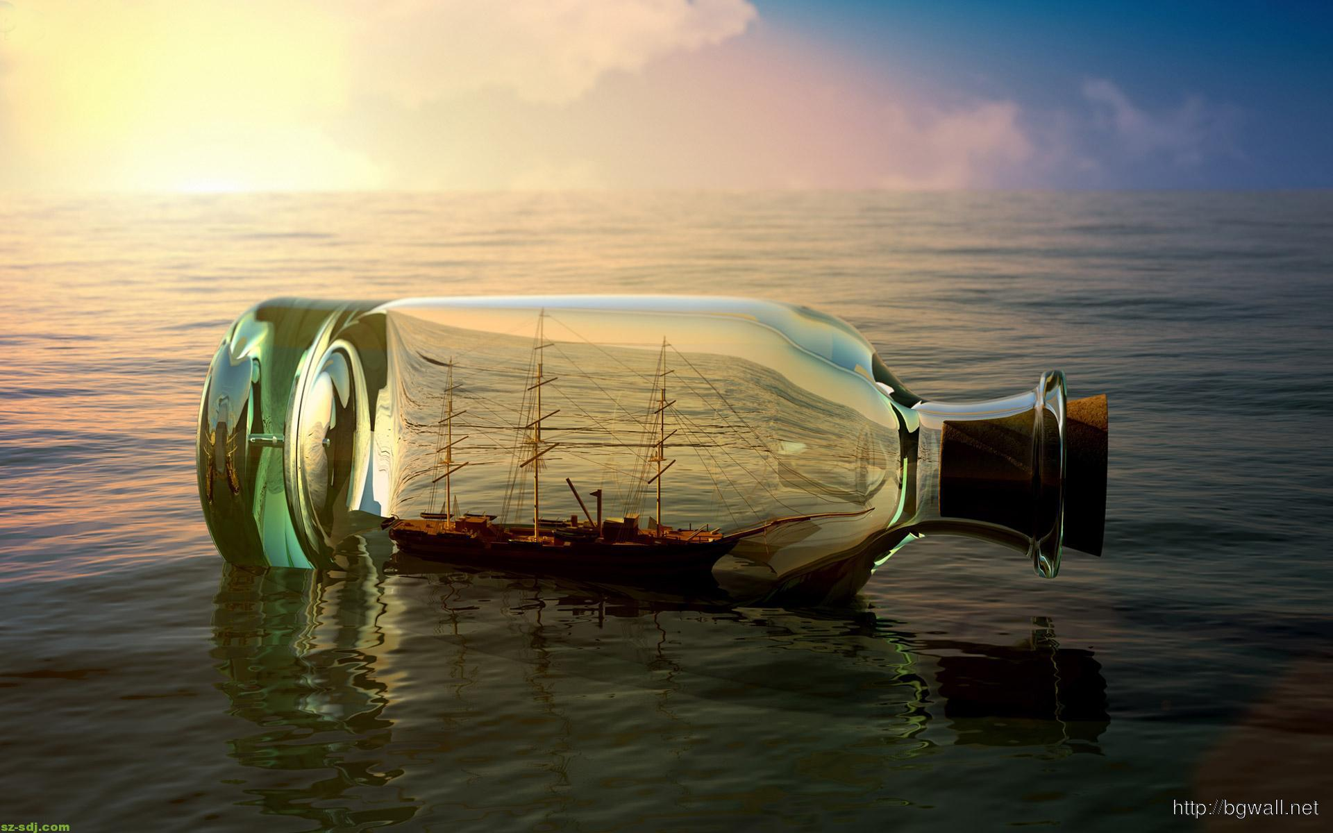 3d Art Bottle At Sea Wallpaper Download Background