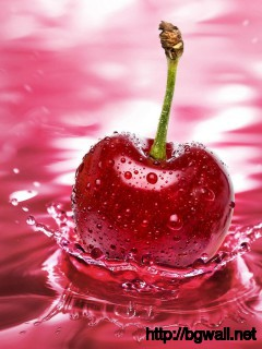 3d-cherry-on-red-water-wallpaper