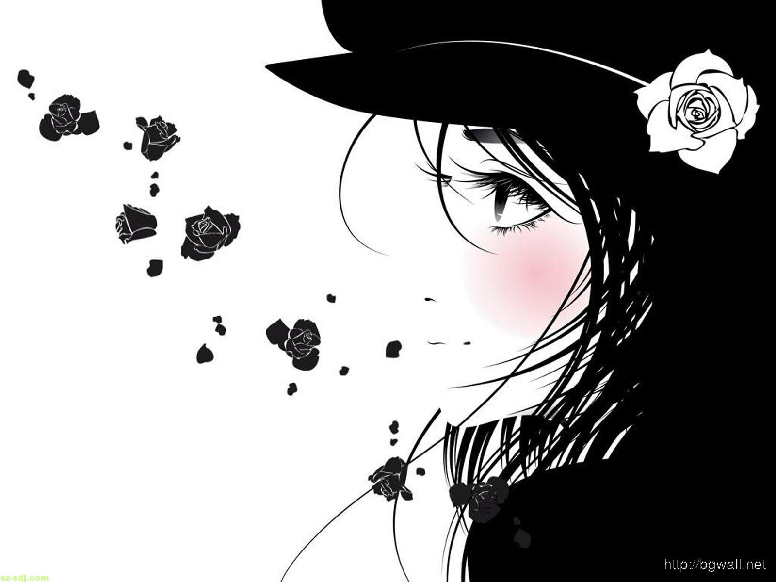 Black White Emo Girl Flower Wallpaper HD