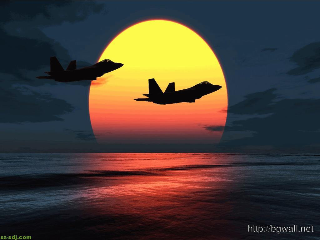 F 22 Airplane On Sunset Wallpaper
