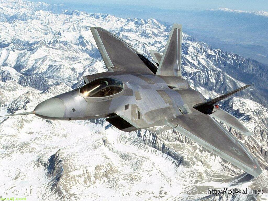 F 22 Airplane Over Mountain Wallpaper