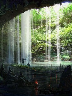 animated-cave-with-waterfall-wallpaper
